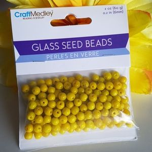 Yellow Glass Seed Beads, 2oz (60g)